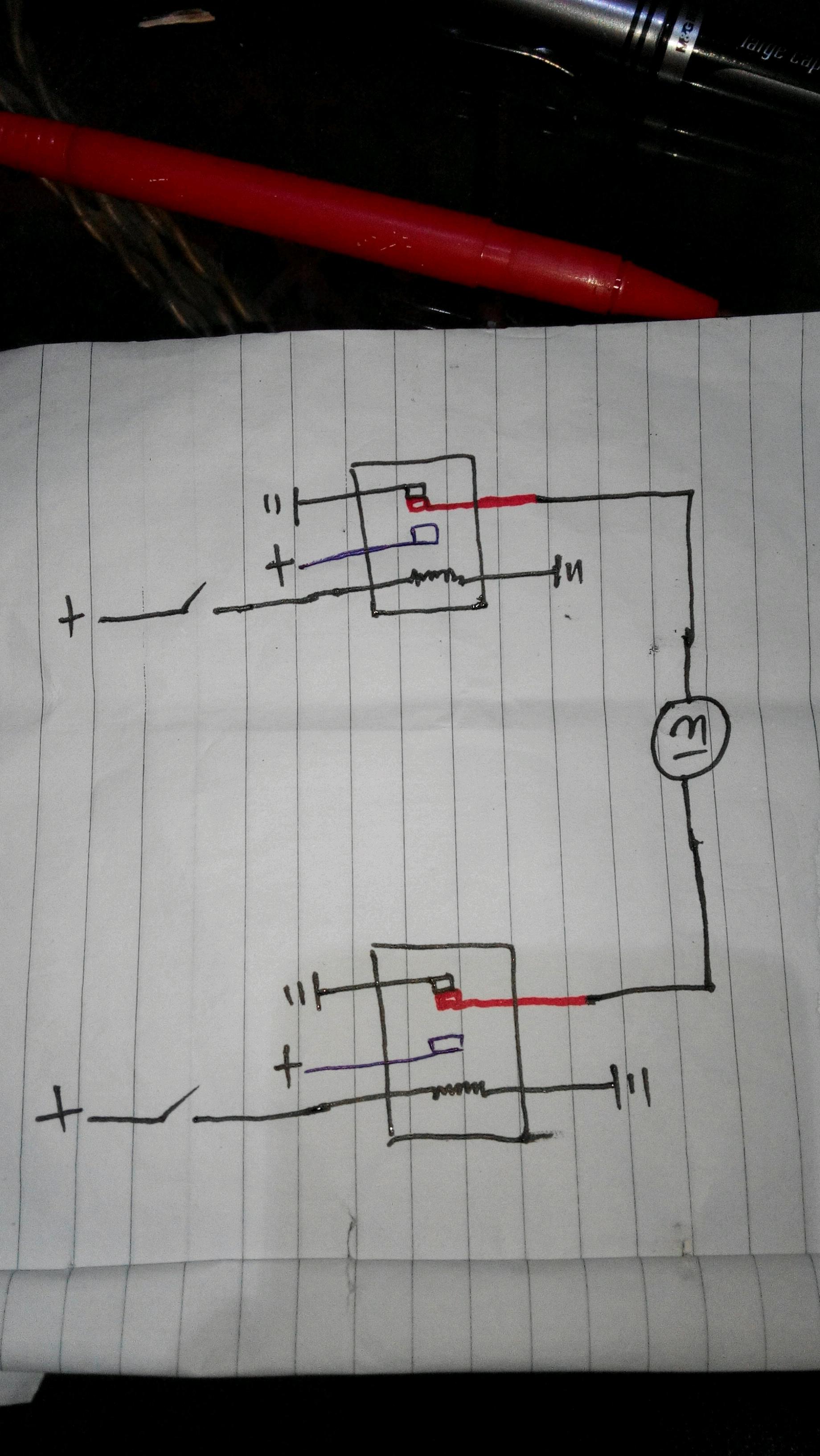 需要两个五角继电器这是线路图【汽车有